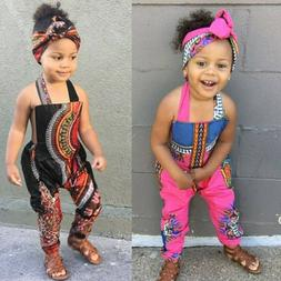 2PCS Toddler Kids Baby Girls Summer African Print Sleeveless