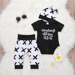 3pcs Newborn Toddler Infant Baby Boy Girl Clothes T-shirt To