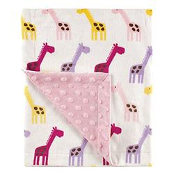 Hudson Baby Printed Mink Blanket with Dotted Backing, Pink G