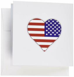 3Drose American Flag Heart - I Love America Patriotic - Usa
