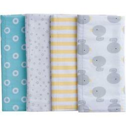 Gerber Baby 4 Pack Flannel Burp Cloth, Assorted Designs