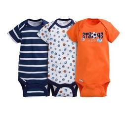 Gerber Baby BOY 3-Piece Navy/Orange Sports Onesies Size 3-9M
