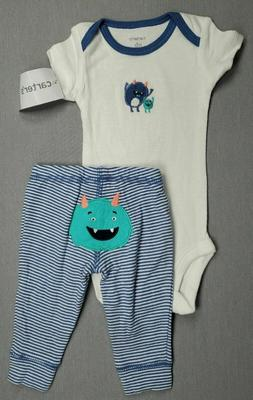 Baby Boy Clothes New Carter's Newborn 2Pc Blue Monster Outfi