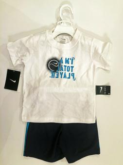 "Baby Boy NIKE ""I'm A Total Player"" Tee and Shorts Set Blue/W"