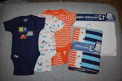 BABY BOYS LOT Wipes & Burp Cloths, Bodysuits ORANGE NAVY BLU