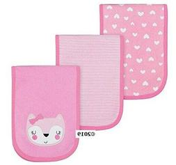 Gerber Baby Girl 3-Piece Pink Fox Burp Cloths
