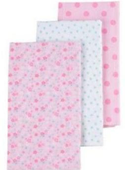 GERBER BABY GIRL'S 3-Pack Flannel Burp Cloths - Flowers - Pi