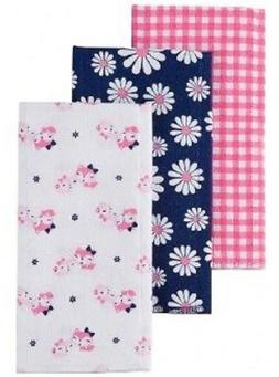 GERBER BABY GIRL'S 3-Pack Flannel Burp Cloths - Daisies - Bl