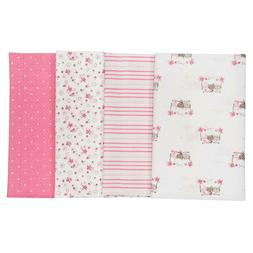Gerber Baby Girls 4 Pack Flannel Burp Cloth, Lil' Flowers, O