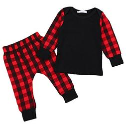 GRNSHTS Baby Girls Boys Christmas Outfit Plaid Long Sleeve T