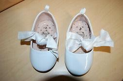Baby Girls Dress Shoes WHITE SHINY MARY JANES Cloth Bow ELAS