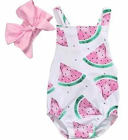GRNSHTS Baby Girls Watermelons Print Backless Romper Jumpsui