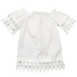 GRNSHTS Baby Girls White Off Shoulder Lace Dress 2-3 Years,