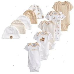 Gerber Baby Neutral 10-Piece Tan Onesies & Caps Bundle Cloth
