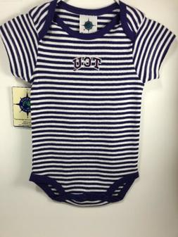 Baby One Piece 3-6 Months TCU Purple And White by Creative K
