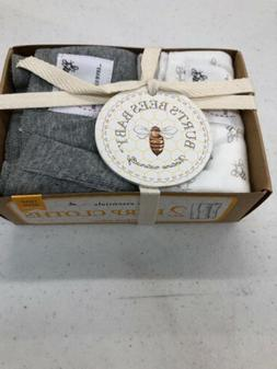 Burts Bees Baby Burp Cloths 1 Gray 1 White / 2 pack one size