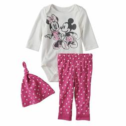 Disney Mickey Minnie Mouse Newborn Baby Girl Bodysuit Hat Pa