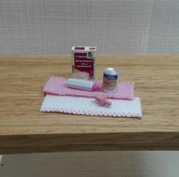 Dollhouse Miniatures Baby Formula Cereal Pink Bottle Pacifer