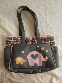 Baby Boom Elephant Diaper Bag Tote Gray Pink Girl for clothe