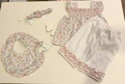 KISSY KISSY FLORAL 2 PIECE OUTFIT WITH HEADBAND WITH BIB 12-