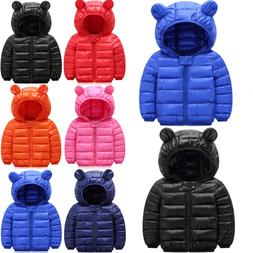 Kids Toddler Baby Boy Girl Winter Warm Cotton Down Hooded Co