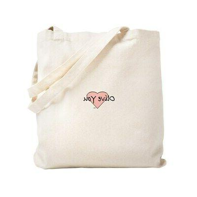 baby olive you natural canvas tote bag