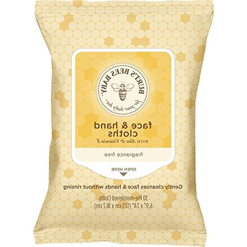 Burt's & Hand Unscented Cleansing - 30 Wipes