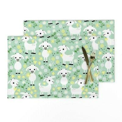 cloth placemats baby goat farm animal pastel