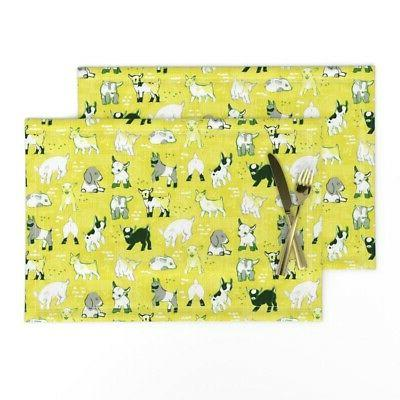 cloth placemats goat yellow modern baby nursery