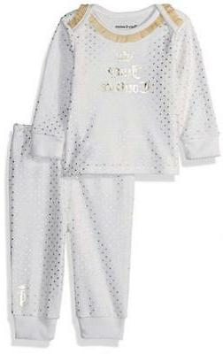 Juicy Couture Infant Girls Vanilla & Gold Layette Pant Set S