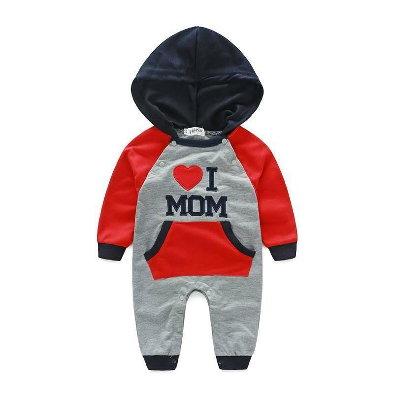 Newborn Baby Boy Cotton LOVE DAD/MOM Hooded Outfit