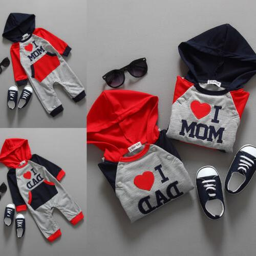 Newborn Boy Girl Cotton Clothes DAD/MOM Hooded Outfit
