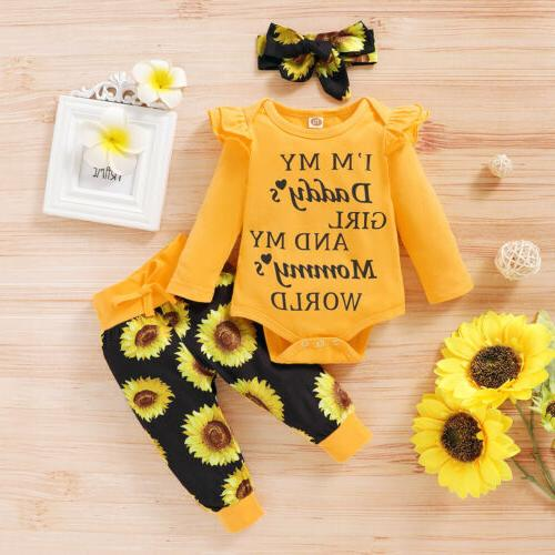 Newborn Baby Girl Letter Romper Jumpsuit Headband Outfit Set