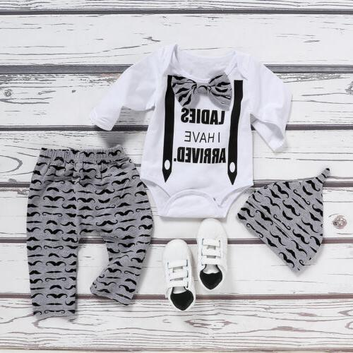 Newborn Infant Baby Gentleman Clothes Tops+Pants+Hat US