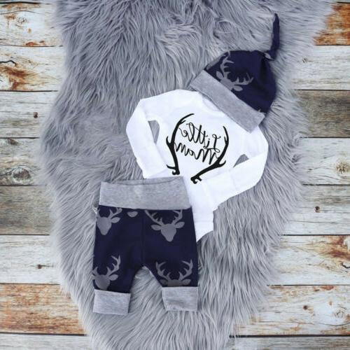 US Newborn Baby Boy Clothes Romper Tops+Deer Pants+Hat Xmas Outfits