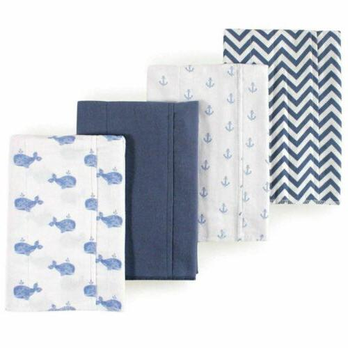 whales boy baby cotton flannel layered burp