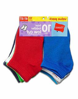 Hanes Low Cut 10-Pack Socks Boys Toddler Assorted Colors 4T-