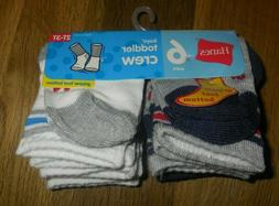 NEW HANES BOYS TODDLER CREW SOCKS - 2T - 3T- GRIPPER FOOT BO