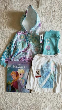 NEW! Disney Frozen Toddler Girls Hoodie-Pants-Top SZ/2T 3PC