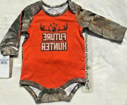 NEW Carhartt infant baby BOYS orange CAMO one piece L/S FUTU
