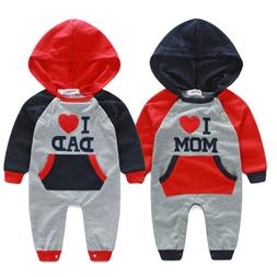 Newborn Baby Boy Girl Cotton Clothes I LOVE DAD/MOM Hooded R