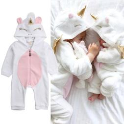 Newborn Baby Boys Girls Unicorn Flannel Romper Jumpsuit Body