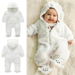 Newborn Baby Girl Boy Fall Winter Fuzzy Romper Bodysuit Jump