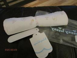 NWT WHITE BABY TOY PRINT WITH  PINK EMBROIDERED EDGING BURP