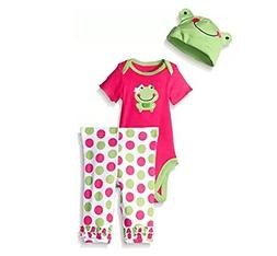 Gerber Girl 3-Pc Pink Frog Set Onesie, Pants & Cap Size 3/6M