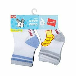 Hanes Toddler Boys 6-Pack Crew Socks, Assorted, 2/6-12 Month