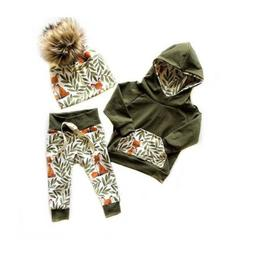 US Newborn Toddler Kids Baby Girl Clothes Fox Hooded Tops+Lo