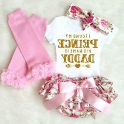 4PCS Newborn Kids Baby Girl Outfits Clothes Romper Bodysuit+