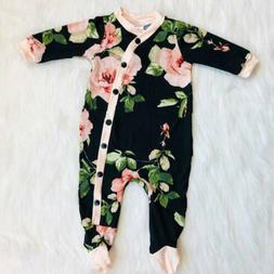 US Newborn Baby Girl Clothes Floral Button Long Sleeve Rompe