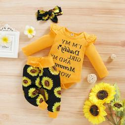 US Newborn Baby Girl Clothes Letter Romper Jumpsuit Tops+Pan
